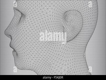 Die konzeptionelle 3D Wire Frame menschlichen Männerkopf - Stockfoto