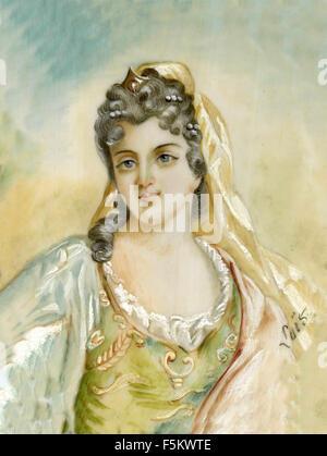 Hüte und Kleider der französischen Mode von 1700 Stockfoto, Bild ...