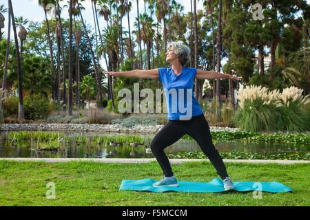 Reife Frau beim Yoga im park - Stockfoto