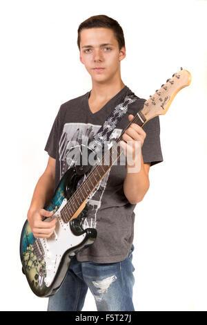 Teenager, die eine e-Gitarre spielen - Stockfoto