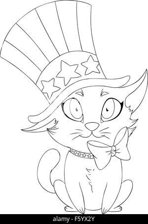 glückliche Katze Cartoon zum Ausmalen Vektor Abbildung - Bild ...