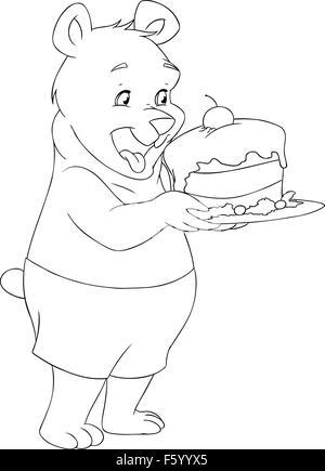 Schwarz Und Weiß Abbildung Ein Bär Mit Einem Bierkrug Und Eine
