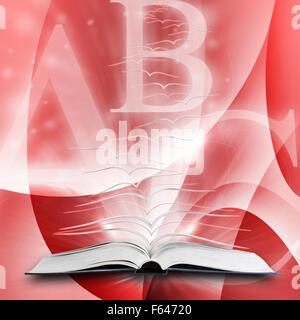 Offenes Buch mit Seiten auf abstrakten Hintergrund fliegen - Stockfoto