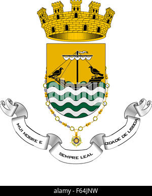 Wappen der portugiesischen Hauptstadt Lissabon. - Stockfoto