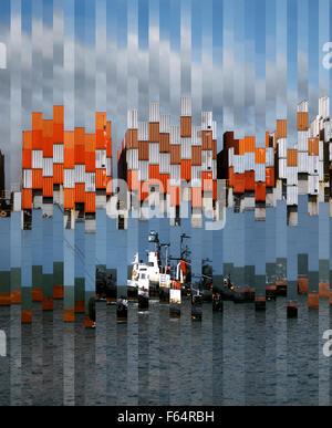 Schlepper guiding Frachtschiff angesehen durch verzerrte Glas - Stockfoto