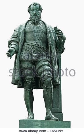 Statue von Hans Jakob Fugger, Augsburg, Bayern, Deutschland - Stockfoto