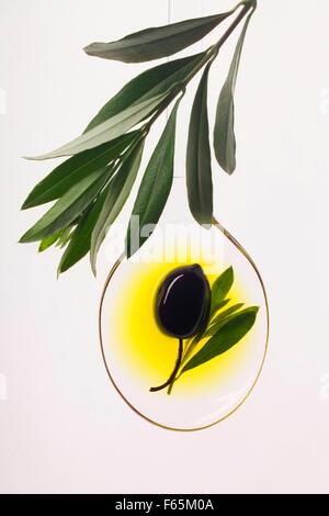 schwarze Oliven in Löffel Öl mit Olivenzweig - Stockfoto