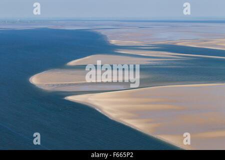 Luftaufnahme der Gezeiten Wattenmeer im Nationalpark Wattenmeer Schleswig-Holstein, Deutschland - Stockfoto