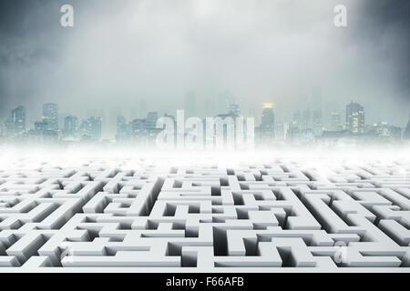Weiße 3D Labyrinth und Nacht Stadt - Stockfoto