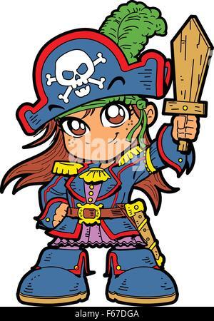 Süße junge Anime-Manga-Mädchen in Piraten-Kostüm und mit einem hölzernen Schwert - Stockfoto