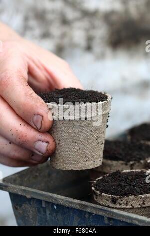 Halten biologisch abbaubaren Topf gefüllt mit Blumenerde mischen - Stockfoto