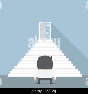 Geschäftsmann vor der Treppe stehen und blickte an Freiheit Tür, Vektor, EPS10 - Stockfoto