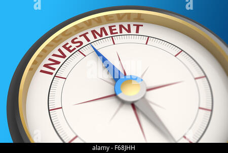 Kompassnadel auf das Wort Investitionen - Stockfoto