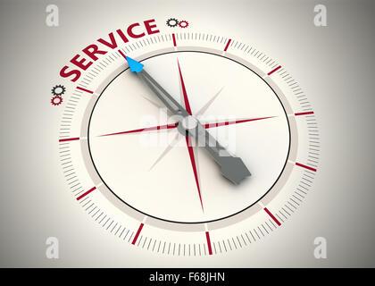Kompass und ein Pfeil auf das Wort service - Stockfoto