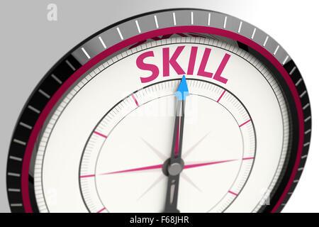 Kompass und ein Pfeil der Wort-Fähigkeit - Stockfoto