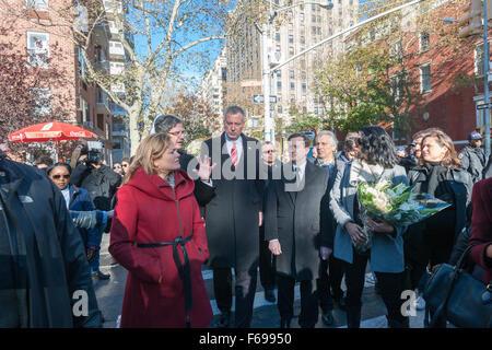 (Links-rechts) Stadtrat Sprecher Melissa Mark-Viverito, François Delattre, französischer Vertreter der UNO, NY Bürgermeister - Stockfoto