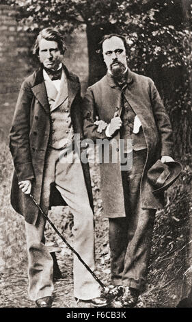 John Ruskin, links, 1819 – 1900.  Englischer Kunstkritiker der viktorianischen Ära, Kunstmäzen, Zeichner, Aquarellist, - Stockfoto