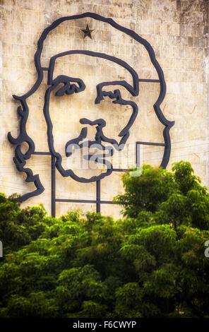 Ernesto Che Guevara als eine Art Installation und Propaganda Kunstwerk an der Wand in den Platz der Revolution, - Stockfoto