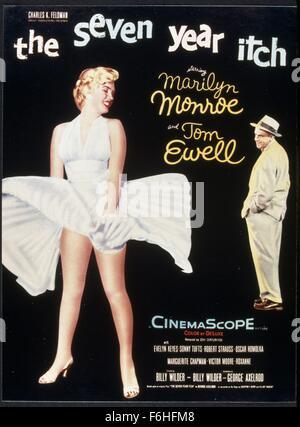 1955, Filmtitel: SEVEN YEAR ITCH, Regie: BILLY WILDER, Studio: FOX, im Bild: TOM EWELL, MARILYN MONROE, männlichen - Stockfoto
