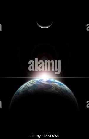 Eine künstlerische Darstellung der einen Stern über einem erdähnlichen Planeten steigt und der einsame Mond beleuchtet. - Stockfoto