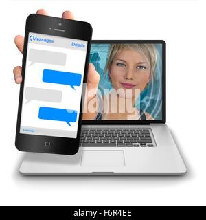 Junge Frau die Hand ausstrecken von innen einen Laptop-Computer, ein Iphone-Stil-Mobiltelefon mit leeren Text Nachricht - Stockfoto