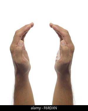 Menschliche Hände - Schutz-Geste auf weißem Hintergrund - Stockfoto