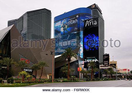 Das Stadtzentrum mit Blick auf das Aria Hotel Turm bereits in Las Vegas, Nevada, Vereinigte Staaten von Amerika - Stockfoto