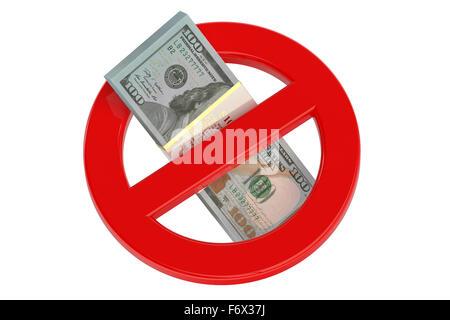 ohne Dollarzeichen isoliert auf weißem Hintergrund - Stockfoto