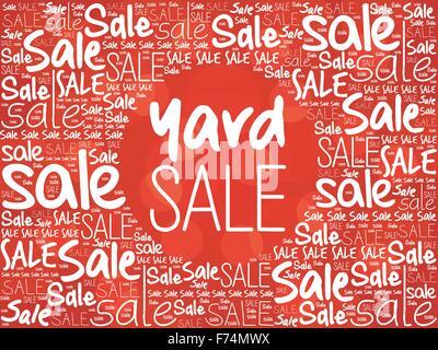 YARD SALE Word Cloud-Hintergrund, Business-Konzept - Stockfoto