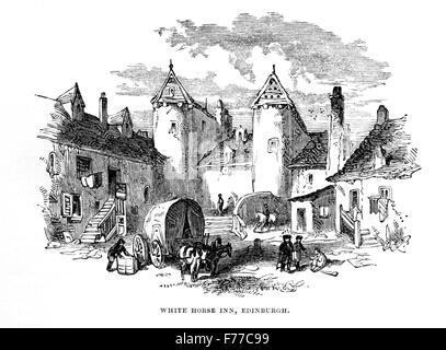 Eine Gravur des White Horse Inn, Edinburgh gescannt und in hoher Auflösung aus einem Buch im Jahre 1852 gedruckt. - Stockfoto