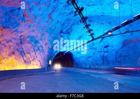 Laerdal-Tunnel zwischen Aurland und Laerdal, Laerdalstunnelen (die weltweit längste 24,5 km) Aurland, Norwegen - Stockfoto