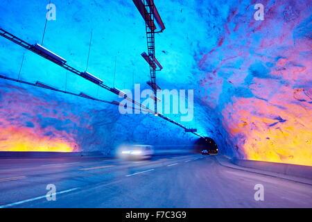 Laerdal Tunnel, Laerdalstunnelen (die weltweit längste 24,5 km) Aurland, Norwegen - Stockfoto