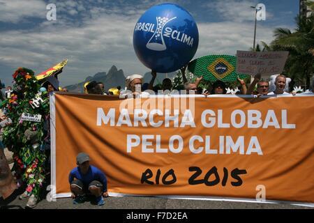 Rio De Janeiro, Brasilien, 29. November 2015. Global Climate March-Veranstaltung in Rio De Janeiro, eine von den - Stockfoto