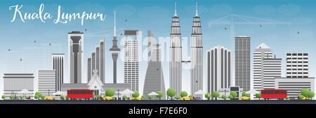 Kuala Lumpur Skyline mit grauen Gebäuden und blauer Himmel. Vektor-Illustration. Business-Reisen und Tourismus-Konzept - Stockfoto