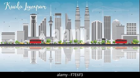 Skyline von Kuala Lumpur mit grauen Gebäude, blauer Himmel und Reflexionen. Vektor-Illustration. Business-Reisen - Stockfoto
