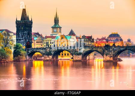 Prag, Karlsbrücke und alte Townl. Tschechische Republik - Stockfoto