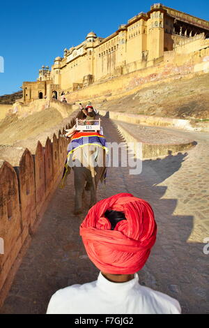 Elefanten reiten, Amber Fort in Jaipur, Rajasthan, Indien, Asien - Stockfoto