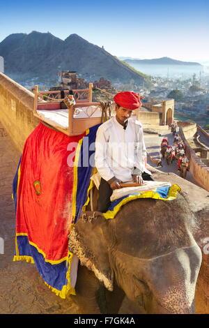 Porträt von Indien Mahout Mann und seinen Elefanten auf dem Weg zum Amber Fort in Jaipur, Rajasthan, Indien - Stockfoto