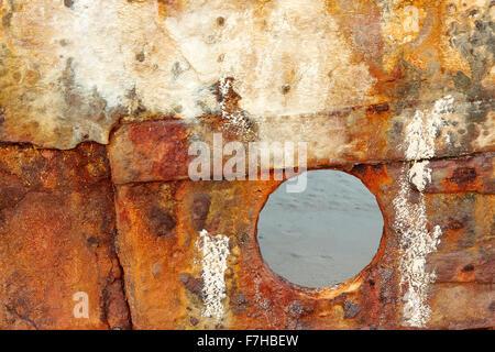 Gelaufen Sie Rumpf des SS Maheno verrosten, auf Fraser Island im Jahr 1935 während abgeschleppt auf dem Schrottplatz. - Stockfoto