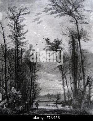 Abbildung zeigt das Ende des Winters in Frankreich. Datiert 1850 - Stockfoto