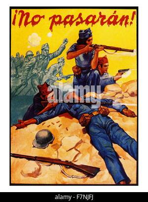 Republikanische Propagandaplakat: Spanischer Bürgerkrieg 1936. kommunistischer Führer Dolores Ibarurri Madea leidenschaftliche - Stockfoto
