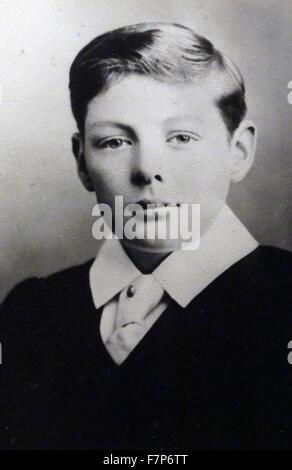 Sir Winston Churchill, (30. November 1874 – 24. Januar 1965) als Schuljunge Egge ca. 1888. Britischer Premierminister - Stockfoto