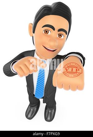 3d-Geschäft Leute. Geschäftsmann mit Handstempel vip. isoliert weißer Hintergrund. - Stockfoto