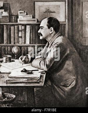Joseph Rudyard Kipling, 1865-1936.   Englischer Schriftsteller, Dichter und Schriftsteller.  Nach dem Gemälde von - Stockfoto