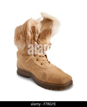 Blaue Schuhe  Beige Shammy Fell Boot isoliert auf weißem Hintergrund -  Stockfoto a0de28a1ae