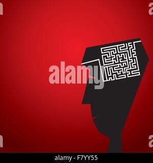 Labyrinth im Kopf Konzept - Stockfoto