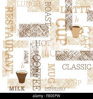 Kaffee unter dem Motto nahtlose Muster - Stockfoto