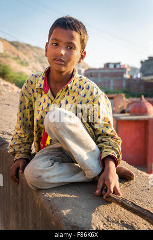 Junge, Porträt, Galtaji, ´s Balaji, Jaipur, Rajasthan, Indien - Stockfoto