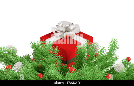 Weihnachten Tannenbaum Zweig Dekoration mit roten Geschenk isoliert 3D-Rendering - Stockfoto