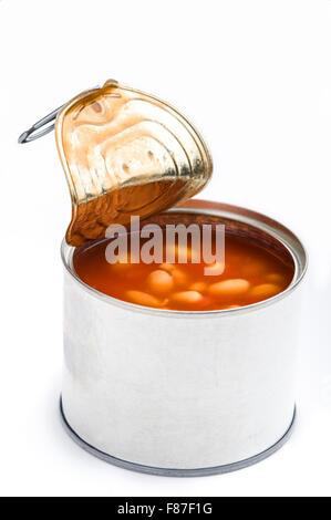 Kann der geöffneten gebackene Bohnen. - Stockfoto
